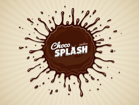 Round chocolate splash with drops and blots. Eps10 vector illustration