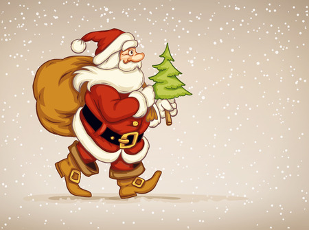 navidad: Santa claus walking with sack of gifts and firtree in his hand over snow background. Eps10 vector illustration