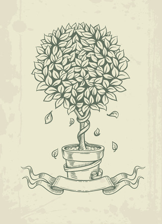 Hand drawn vintage tree with falling leaves. Eps10 vector illustration Vector