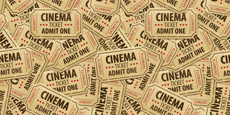 cinematograph: Seamless pattern background of cinema tickets. Eps10 vector illustration Illustration