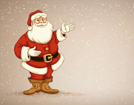 Santa Ñlaus showing in empty place for advertising. Eps10 vector illustration