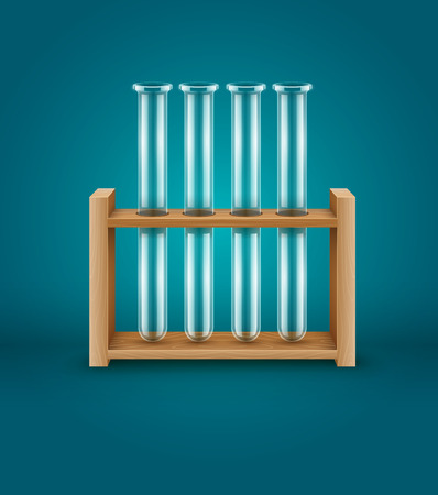 test glass: Test-tubes for medical laboratory analysis research in wooden support. Eps10 vector illustration Illustration