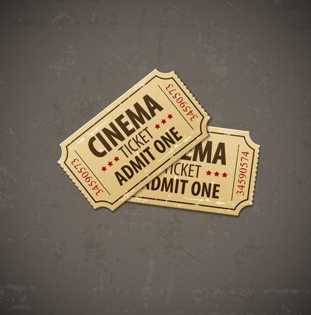 Two old cinema tickets for cinema over grunge background. Eps10 vector illustration. Vector