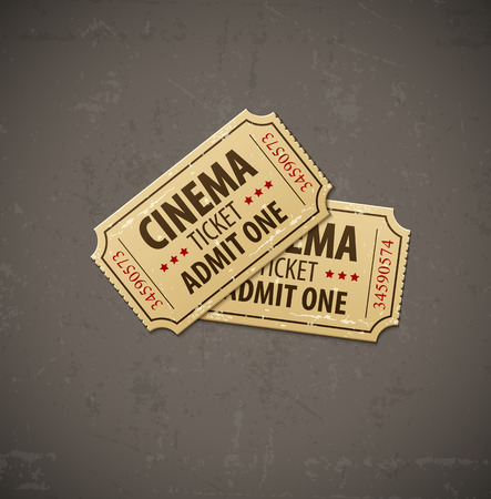 cinematograph: Two old cinema tickets for cinema over grunge background. Eps10 vector illustration. Illustration