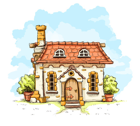 rural houses: Entrance in old fairy-tale house with tiles roof. Eps10 vector illustration. Isolated on white background