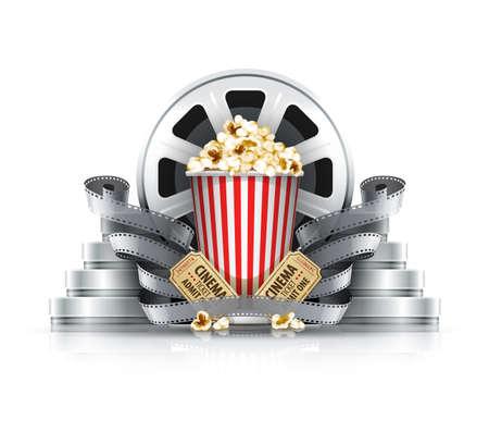 cinematograph: Pel�culas fijas y los discos con las entradas de cine a cine palomitas de ma�z. Ilustraci�n vectorial Eps10. Aislado en el fondo blanco