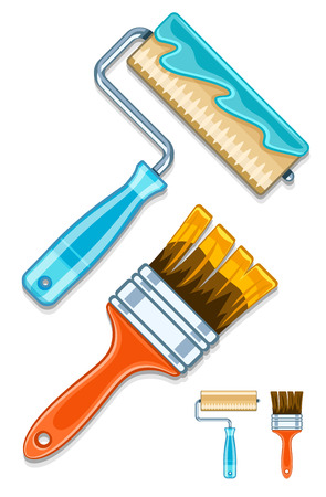 paper hanger: Maintenance tools brushes and rollers for paint works. Eps10 vector illustration. Isolated on white background Illustration