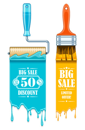 Sale banner with maintenance tools brushes and rollers for paint works. Eps10 vector illustration. Isolated on white background Illustration