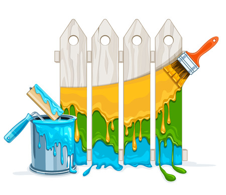 White Fence Painting Maintenance By Colour Paint Brush Roller With Full Bucket Eps10 Vector