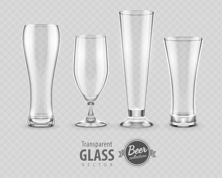 pellucid: Glasses glasses for beer drinking in pub empty set. Eps10 vector illustration, transparent objects can be placed on any background.