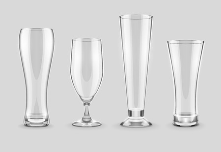 pellucid: Glasses for beer drinking in pub empty set. Eps10 vector illustration, transparent objects can be placed on any background.