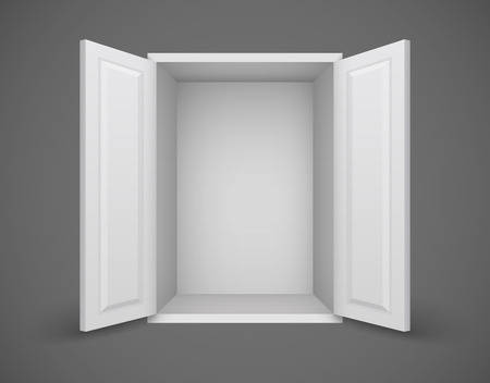 Empty white box with open doors and nothing inside. Eps10 vector illustration Vector