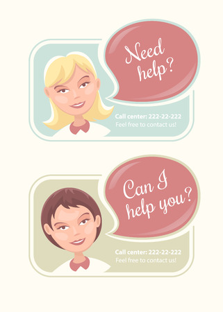 call centre girl: Web banners with support operators from call center. Eps10 vector illustration Illustration
