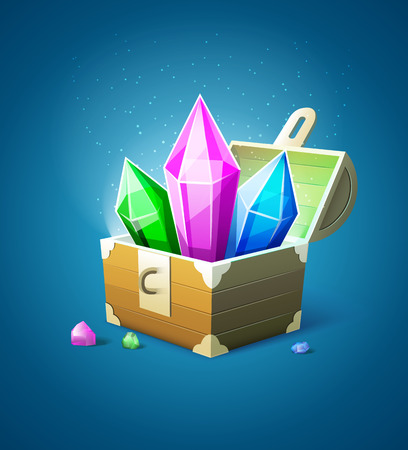 Magic chest trunk with precious stone crystals. Eps10 vector illustration Illustration