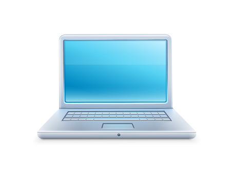 electrical appliance: Icono del ordenador port�til con la pantalla azul vac�a. Ilustraci�n vectorial Eps10. Aislado en el fondo blanco