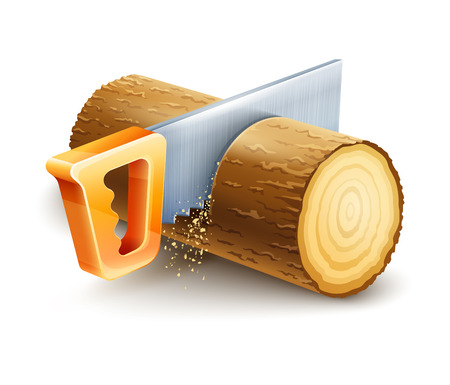 Manual saw cutting wooden timber. Eps10 vector illustration. Isolated on white background