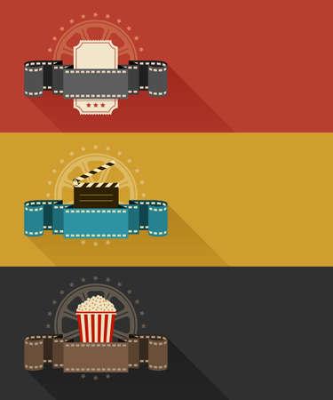 Cine: Retro carteles de cine de dise�o plano. ilustraci�n vectorial. Aislado en el fondo blanco