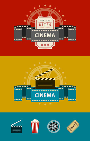 motion picture: Retro cinematography banners with icons flat design.  Illustration