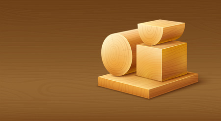 cuted: Woodworks wooden workpieces blocks of various forms.