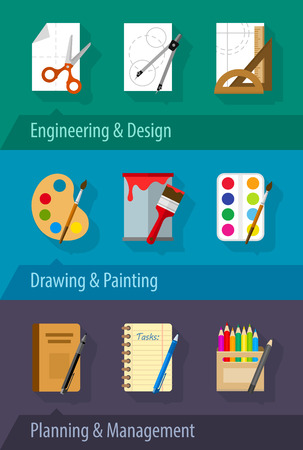 engineering design: Flat icons engineering design art planning and management. Eps10 vector illustration Illustration