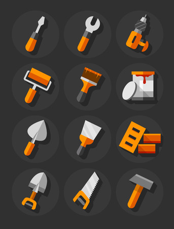 Working tools for construction and repair flat icons set.