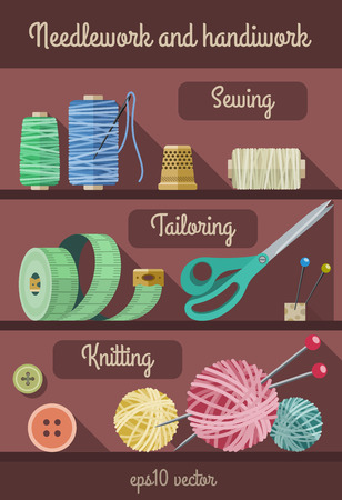 fancywork: Set of tools and materials for fancywork and needlework.