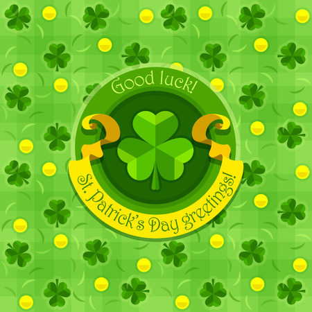 patricks day: Shamrock symbol for saint patricks day with ribbon. Illustration