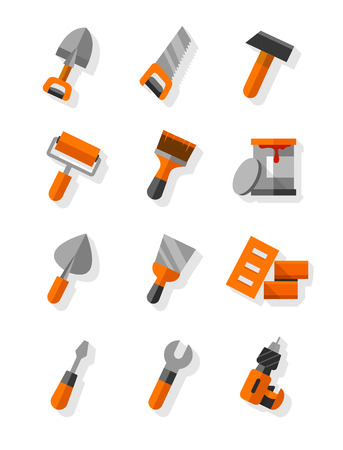 palette knife: Working tools for construction and maintenance flat icons set. Eps10 vector illustration. Isolated on white background Illustration