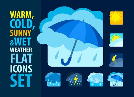 lluvia paraguas: Iconos del tiempo fijados plana. Ilustración vectorial Eps10 Vectores