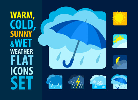 heavy rain: Weather icons set flat. Eps10 vector illustration Illustration