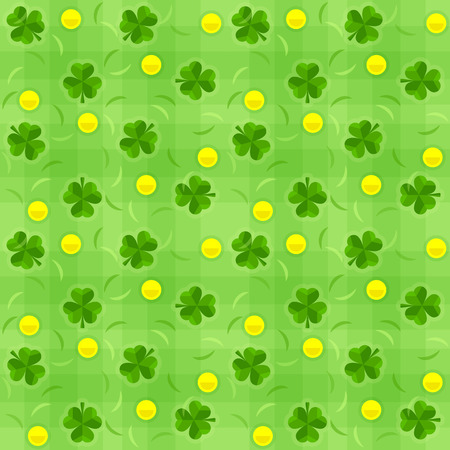 saint patrick's day: Saint patricks day seamless background with shamrocks and gold coins. Eps10 vector illustration