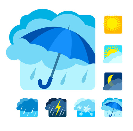 downpour: Weather icons set flat.
