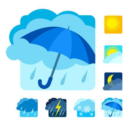 cloudburst: Weather icons set flat.