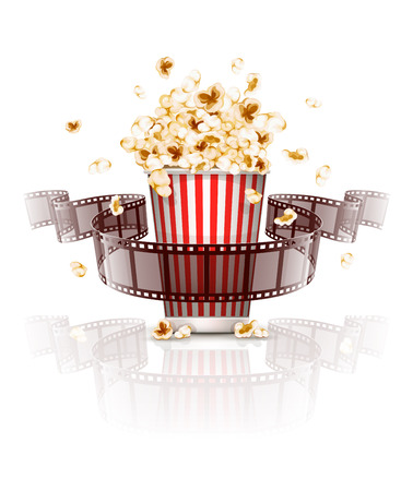 movie and popcorn: Jumping popcorn and film-strip film. vector illustration. Isolated on white background