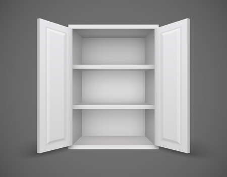 tare: Empty box with open doors and bookshelves nothing inside. Eps10 vector illustration