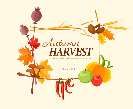 harvest: Autumn harvest frame for thanksgiving day. Eps10 vector illustration