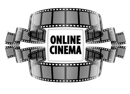 cinta de pelicula: Online película de vídeo cine. Ilustración vectorial Eps10. Aislado en el fondo blanco Vectores
