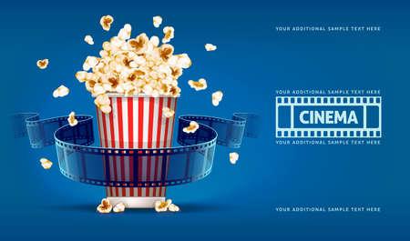 cinta de pelicula: Palomitas de cine y carrete cine sobre fondo azul. Ilustración vectorial Eps10