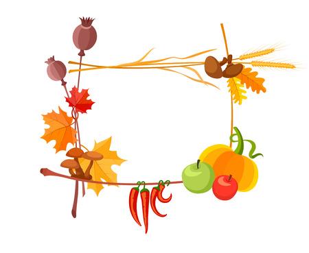 autumn harvest: Autumn harvest frame for thanksgiving day. Eps10 vector illustration