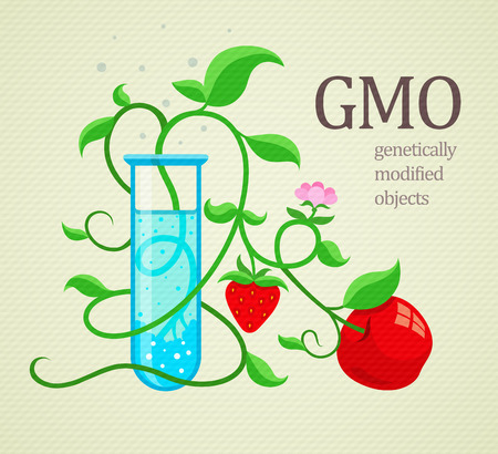 GMO genetically modified plants growing in test-tube. Eps10 vector illustration Illustration