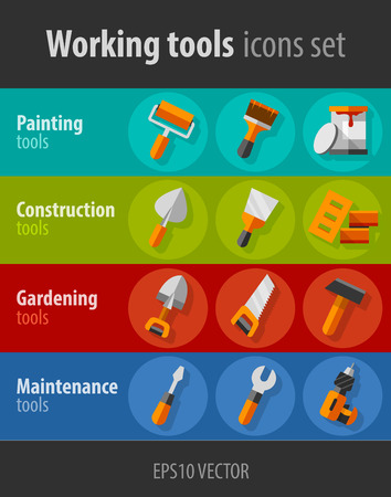 palette knife: Working tools for construction and maintenance flat icons set. Eps10 vector illustration Illustration