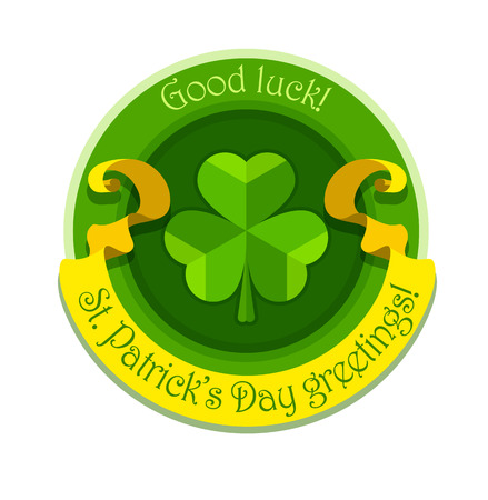 saint patrick's day: Shamrock symbol for saint patricks day with ribbon. Eps10 vector illustration
