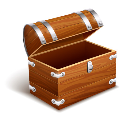 storage box: Old empty vintage wooden trunk. Isolated on white background