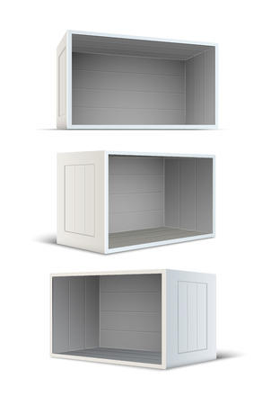 storing: Set of white empty wooden boxes.  Illustration