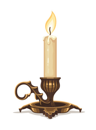 white candle: Burning candle in bronze candlestick.
