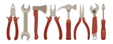 Set of working tools. Eps10 vector illustration. Isolated on white background Vector
