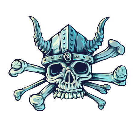 skull and crossed bones: Cr�neo con cuernos y huesos cruzados. Ilustraci�n vectorial Eps10. Aislado en el fondo blanco