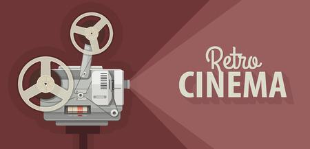 cinematograph: Proyector de pel�cula retro de pel�culas antiguas muestran. ilustraci�n vectorial