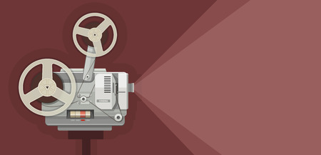 motion picture: Retro movie projector for films showing. Eps10 vector illustration Illustration