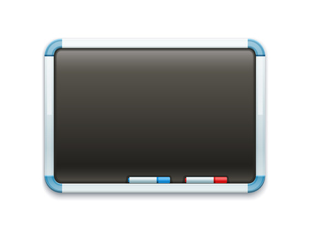 bureaucratic: Black office blackboard for drawing and markers. Eps10 vector illustration. Isolated on white background